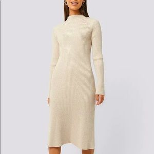 NWT NA-KD Beige Ribbed Knitted Polo Dress